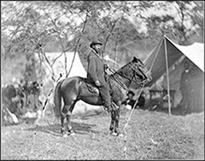 Old photograph of a Allan Pinkerton on horseback