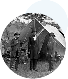 Photograph of Abraham Lincoln standing with Allan...