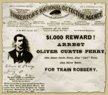 Wanted poster for train robber Oliver Curtis Perry